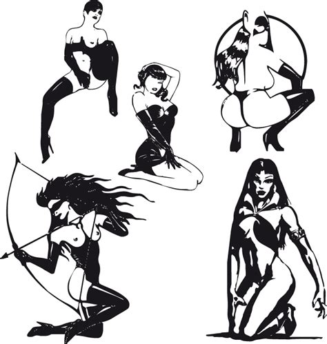 sexy black  white silhouette   eps