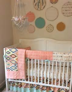aztec bumperless baby girl crib bedding set peach gold and