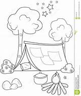 Tent Coloring Illustration sketch template