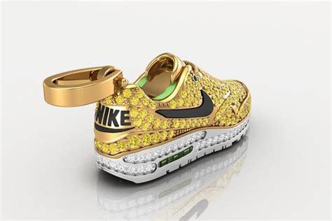nike air max sneaker gold diamond pendant