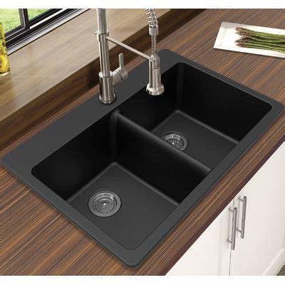 Black Drop In Kitchen Sink by Winpro Granite Quartz 33 Quot L X 22 Quot W Bowl Drop In