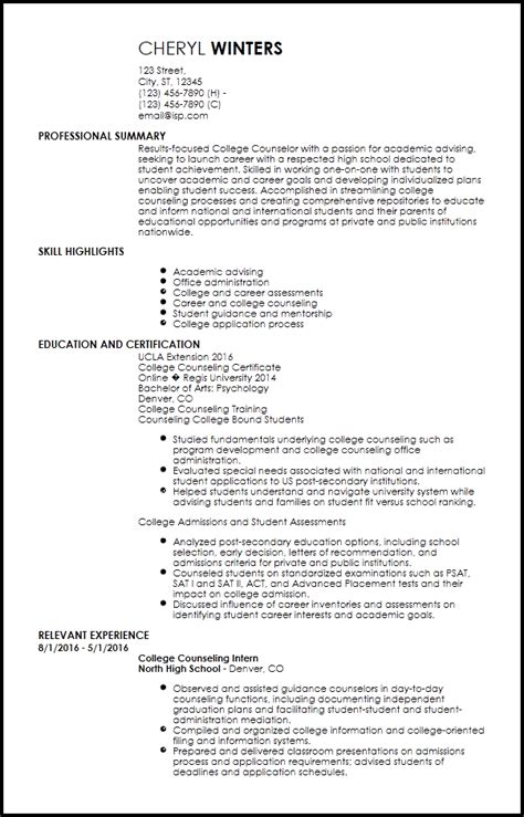 Academic Advisor Resume by Free Entry Level Academic Advisor Resume Templates Resumenow
