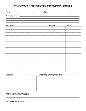 cognitive thinking reports fill  printable