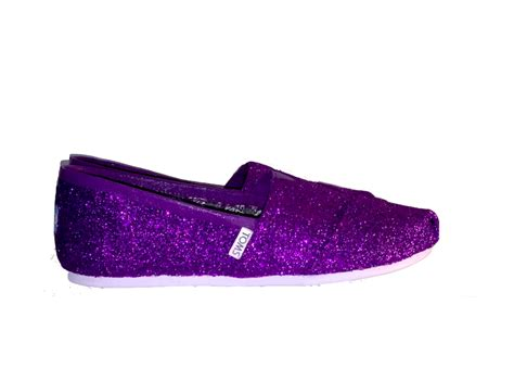 Womens Sparkly Glitter Toms Flat Shoes Purple Wedding