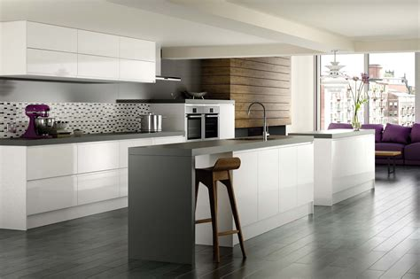 White Kitchen Grey Floor Tile Home Interior Design Lentine
