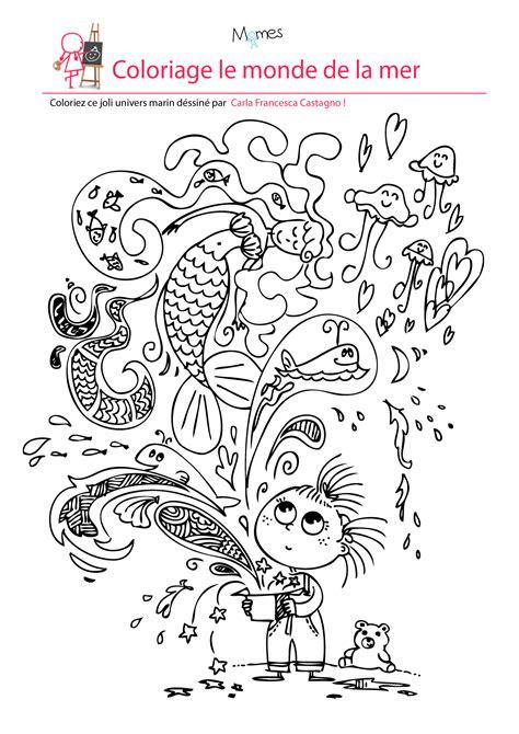 papier pour cuisine coloriage le monde de la mer momes