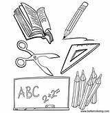 Coloring Supplies Pages Objects Printable Print sketch template
