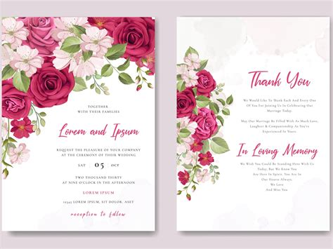 beautiful maroon roses invitation card template by