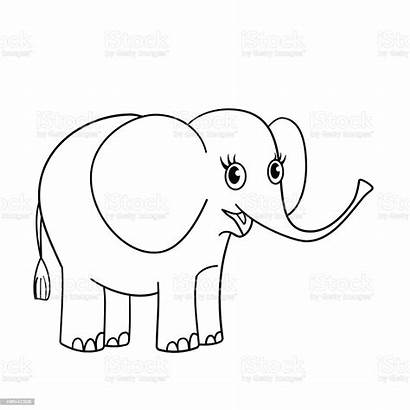 Elephant Outline Coloring Nice Vector Illustration Outlined