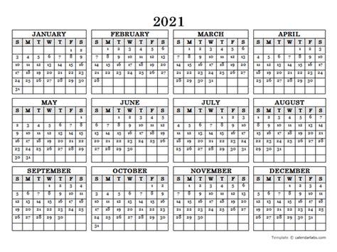 50+ Annual Calendar Printable 2021  Pics