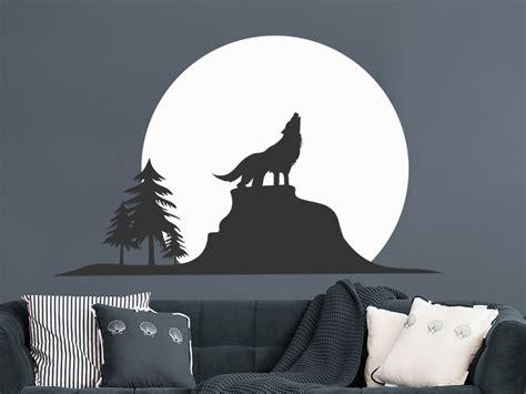 Wandtattoo Kinderzimmer Wolf wandtattoo wolf silhouette mit mond wandtattoos de