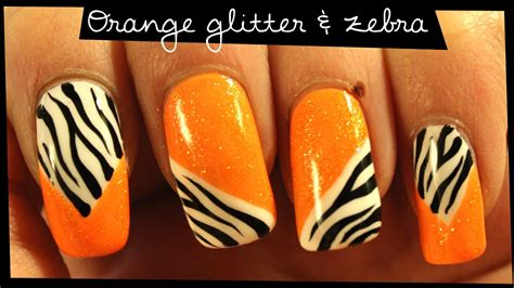 orange glitter zebra nail art youtube