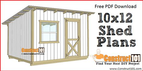 10 by 12 shed plans free 10x12 lean to shed plans free pdf construct101