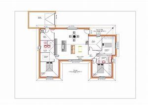 plan maison en u ouvert a toit plat avec garage projet With modele de maison en l 0 photo de maison familiale