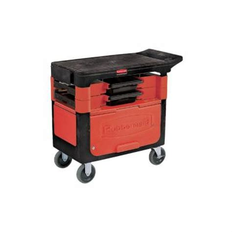 rubbermaid commercial products trades cart with locking