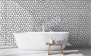 Papier Peint Pour Salle De Bain : papiers peints noir et blanc mur aux dimensions ~ Dailycaller-alerts.com Idées de Décoration