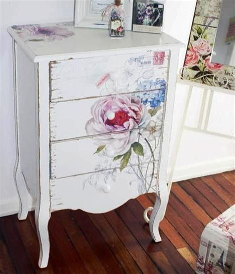 easy shabby chic painting lovely decoupage pinterest drawer unit shabby chic and flower