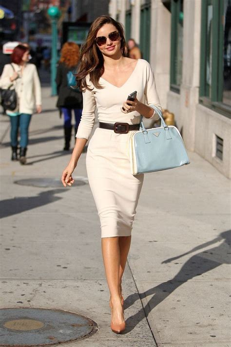 pastel flowery sleeves top blouse beige sheath dress with belt high heels pumps pictures