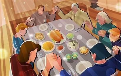 Thanksgiving Dinner Happy Turkey Prayer Holiday Vector