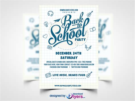 Flyers Templates Free by Back To School Flyer Template Free Psd