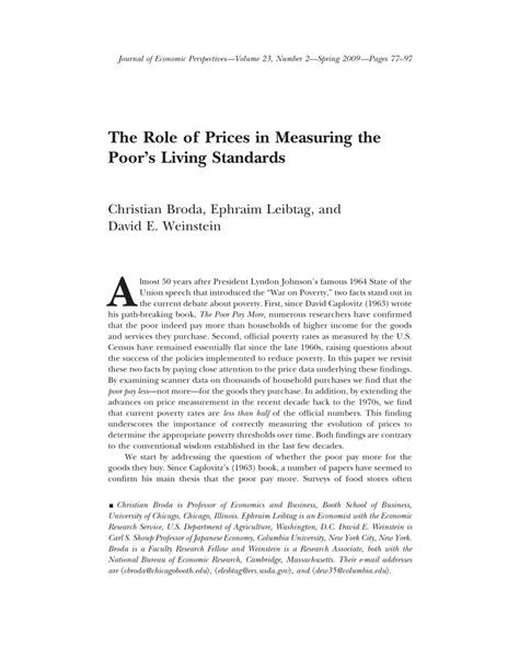 (PDF) The Role of Prices in Measuring the Poor's Living
