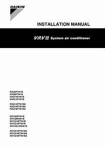 Daikin Rxq18p7w1ba Installation Manual
