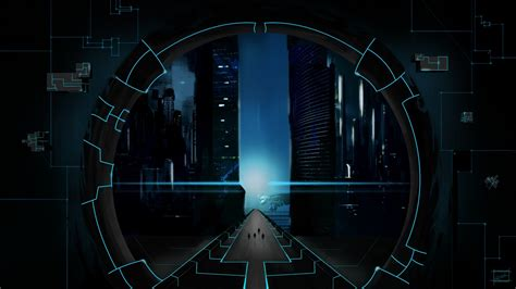 digital cgi lines futuristic road spaceship walls circle modern science fiction