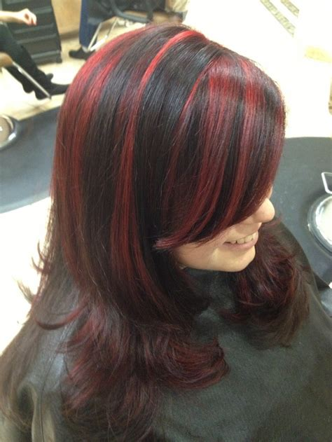 top   black hair red highlights ideas  pinterest