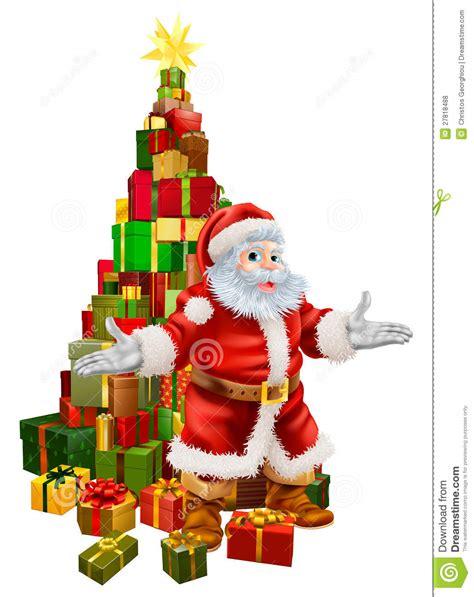 santa claus christmas tree gifts royalty free stock photos