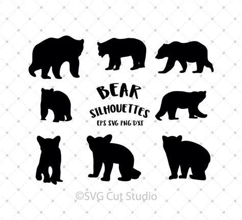 The baby bear design above includes: SVG Cut Files for Cricut and Silhouette - Bear Silhouettes ...