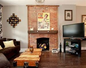 , Awesome Brick Fireplace Remodel In Eclectic Living Room ...