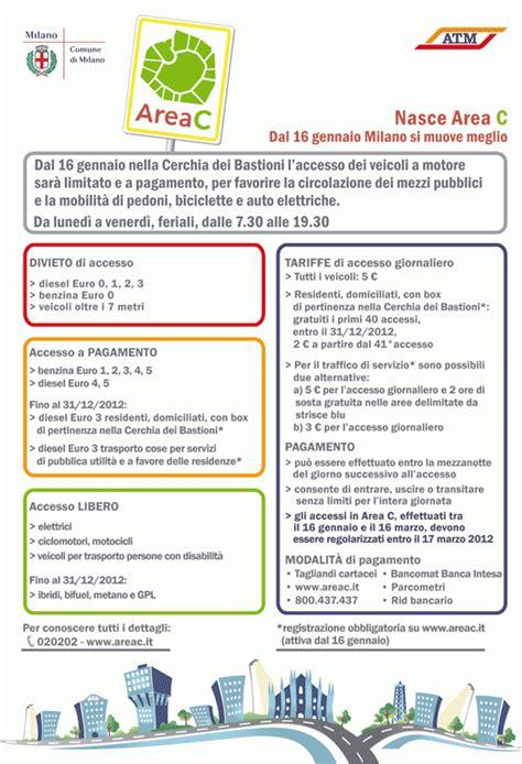 Ingresso Area C Scatta L Area C Dal 16 Gennaio 2012 Ingresso