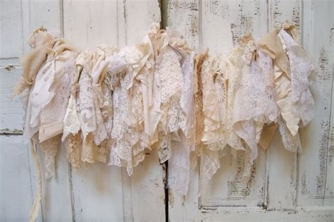 shabby chic garland shabby chic fabric garland wall hanging homemade romantic