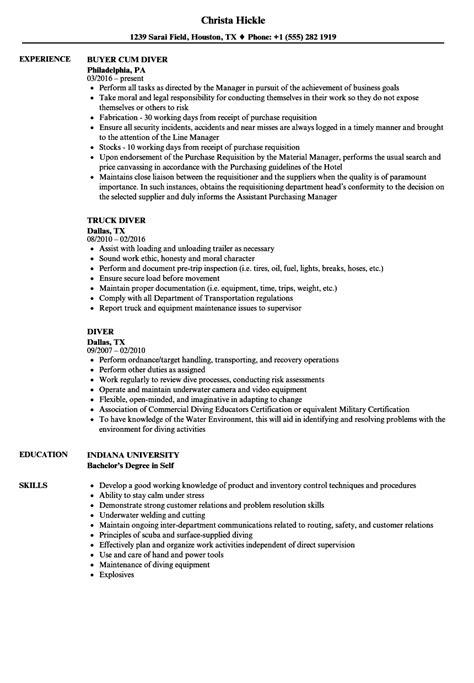 Diver Resume Samples   Velvet Jobs