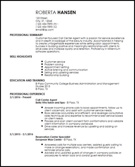 entry level call center agent resume templates resume