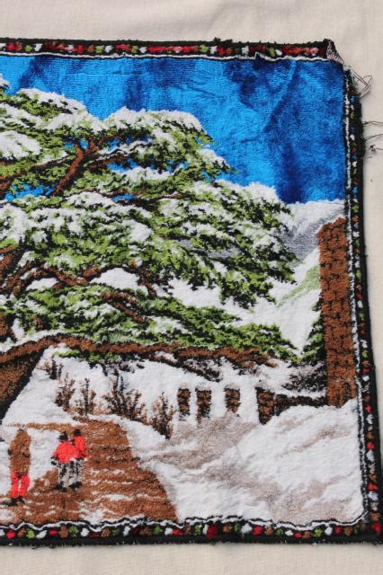 vintage plush tapestry wall hanging rug cabin rustic
