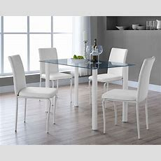Dining Room Table Set Black Or Clear Glass And 4 Faux