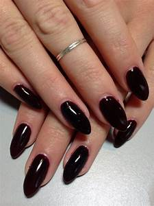 Dark red wine oval nails | nail fun | Oval nails, Red ...