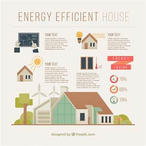 Energy Efficient House Infographic In Flat Design Vector