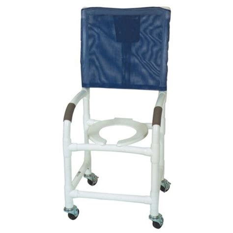 18 pvc shower chair high back 3x1 1 4 casters flatstock