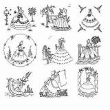 Embroidery Patterns Hand Crinoline Ladies Transfers Designs Tracing Quilt Bella Lady Pattern Machine Embroidered Booklet Stitch Rose Umbrella Transfer Stitches sketch template