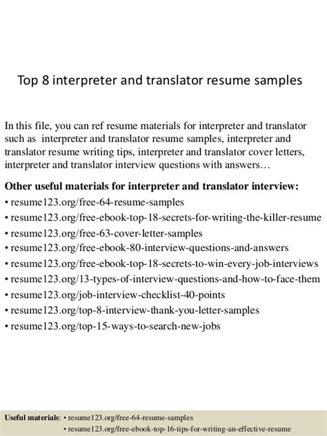 Interpreter Translator Resume Sle by Top 8 Interpreter And Translator Resume Sles