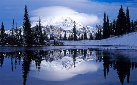 Landscape, Nature, Lake, Mountain, Winter Wallpapers Hd