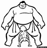 Sumo Coloring Wrestling Pages Sports Thecolor Brother Roman Da sketch template