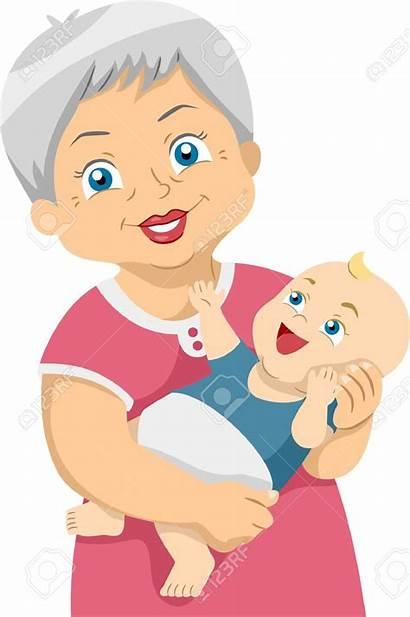 Clipart Grandma Cartoon Clip Grandchild Grandmother Abuela