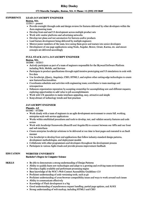 javascript engineer resume samples velvet jobs