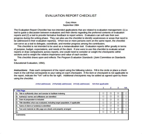 sample evaluation reports sample templates