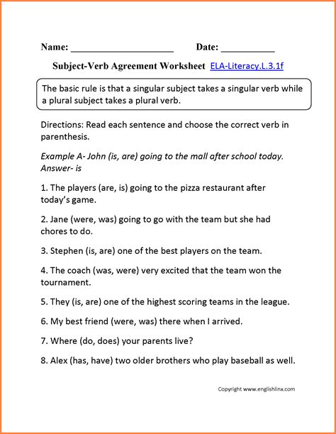 worksheet subject verb agreement worksheets with answers grass fedjp worksheet study site