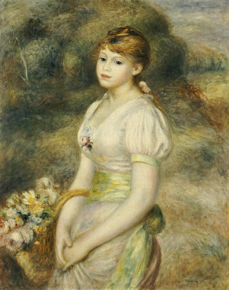 Young Girl With A Basket Of Flowers Painting By Pierre