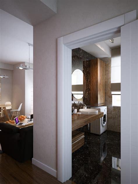 walnut vanity unit brown marble bathroom floor interior